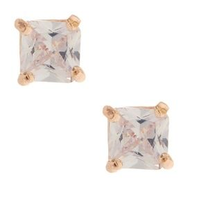 TWO (2) Pairs 5mm Square Cubic Zirconia Earrings